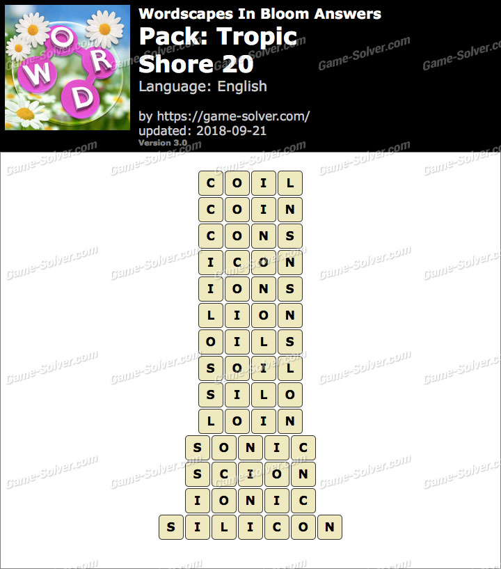 Wordscapes In Bloom Tropic-Shore 20 Answers