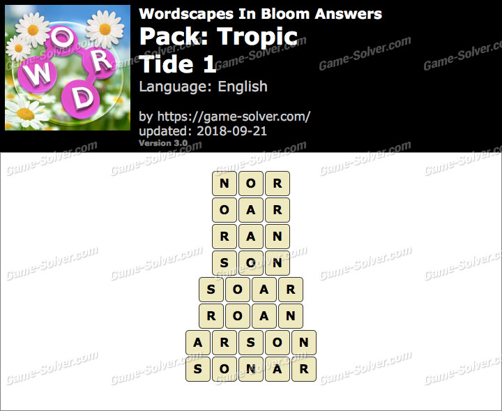 Wordscapes In Bloom Tropic-Tide 1 Answers