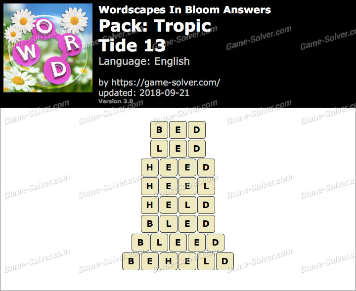 Wordscapes In Bloom Tropic-Tide 13 Answers