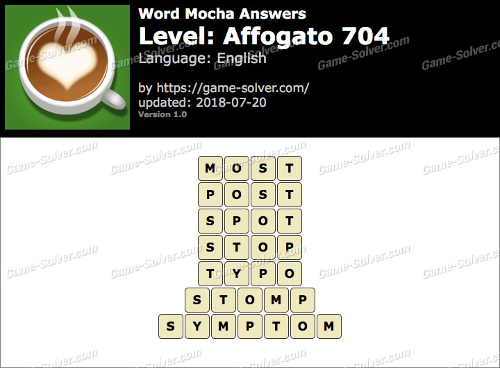 Word Mocha Affogato 704 Answers