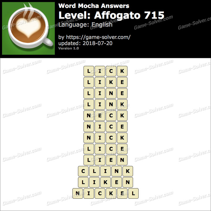 Word Mocha Affogato 715 Answers