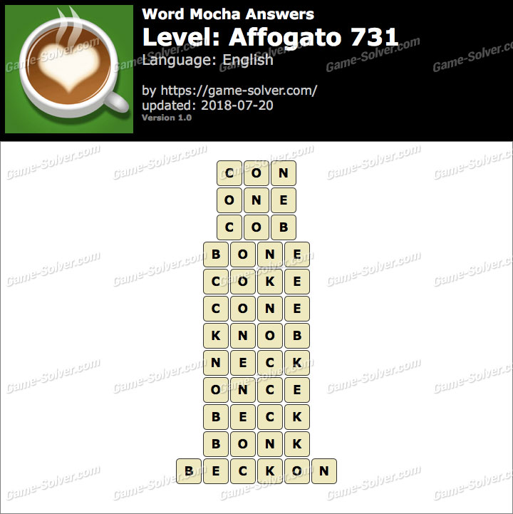 Word Mocha Affogato 731 Answers