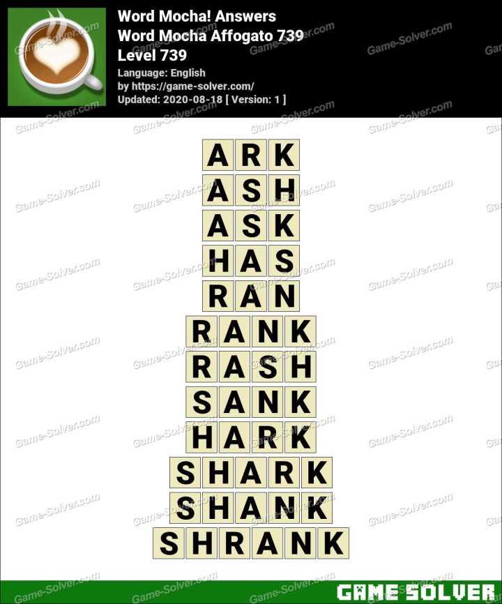 Word Mocha Affogato 739 Answers