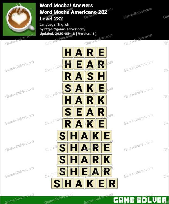 Word Mocha Americano 282 Answers