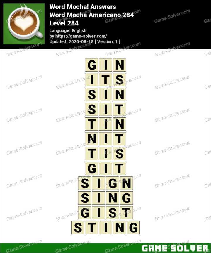 Word Mocha Americano 284 Answers