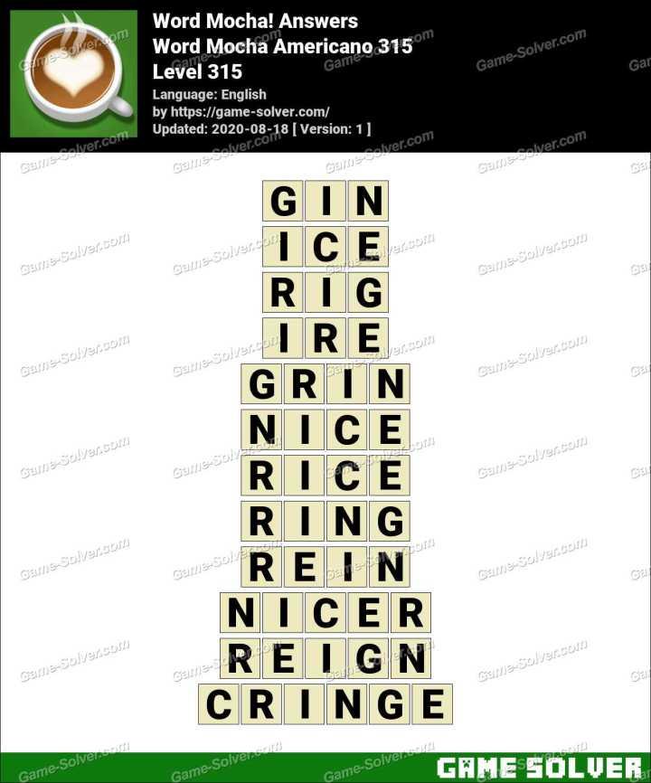 Word Mocha Americano 315 Answers
