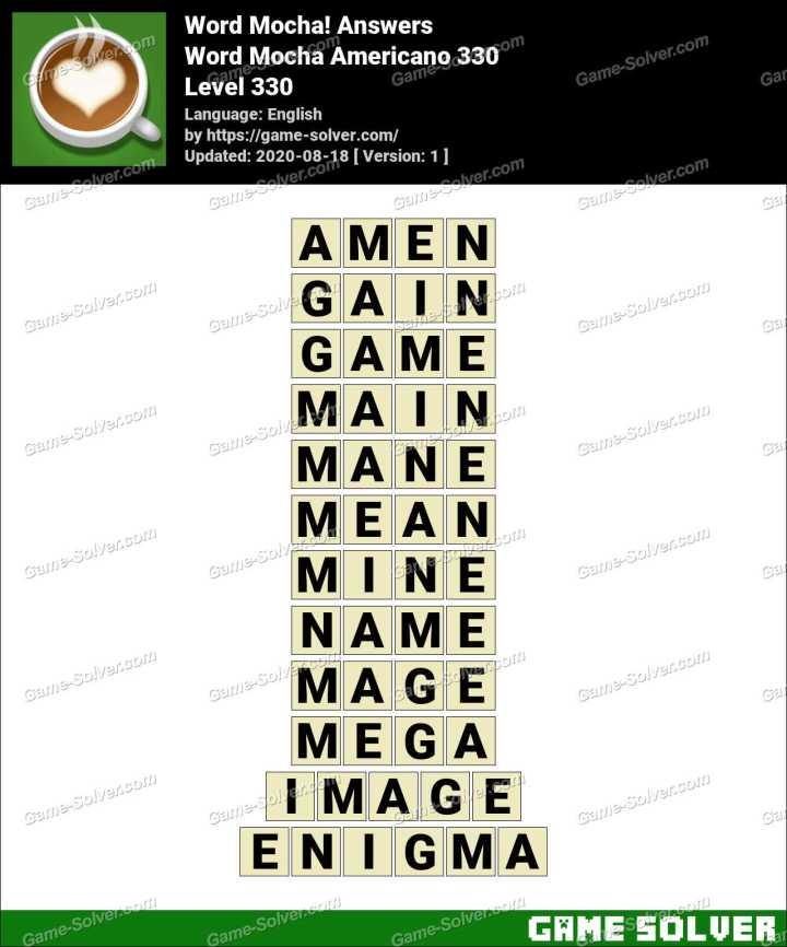 Word Mocha Americano 330 Answers