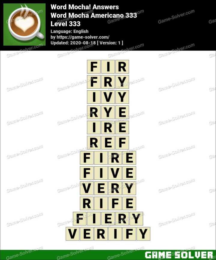 Word Mocha Americano 333 Answers