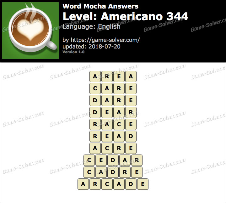 Word Mocha Americano 344 Answers