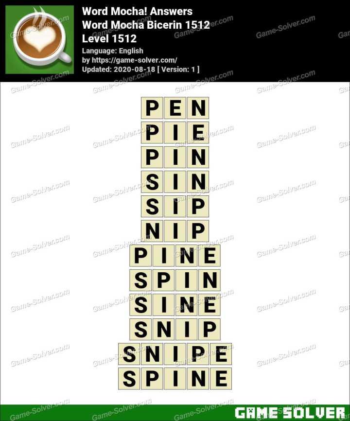 Word Mocha Bicerin 1512 Answers