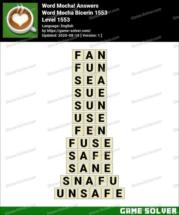 Word Mocha Bicerin 1553 Answers