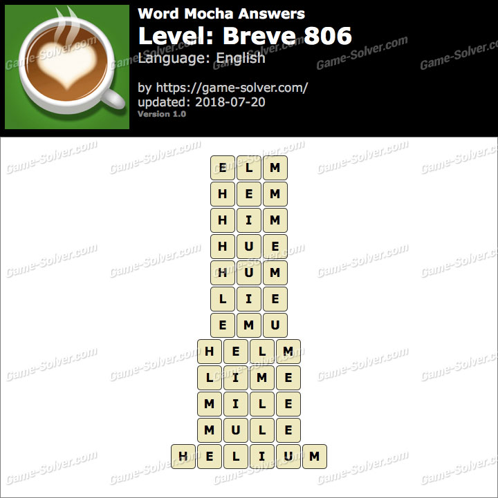 Word Mocha Breve 806 Answers