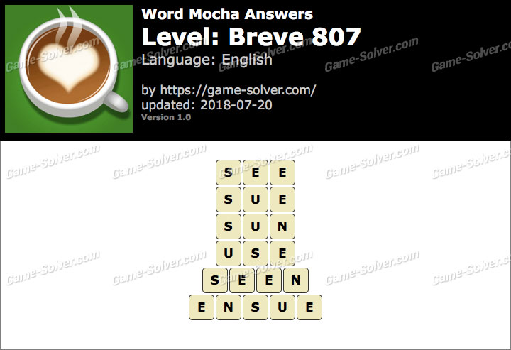 Word Mocha Breve 807 Answers