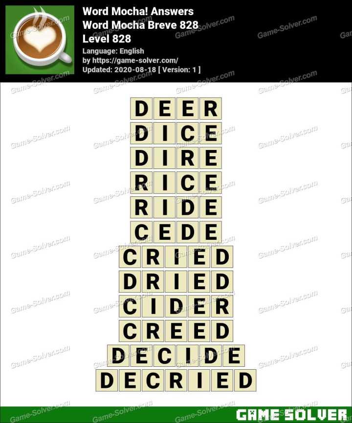 Word Mocha Breve 828 Answers