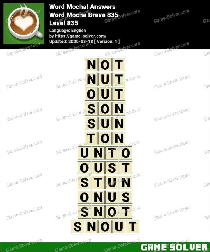 Word Mocha Breve 835 Answers