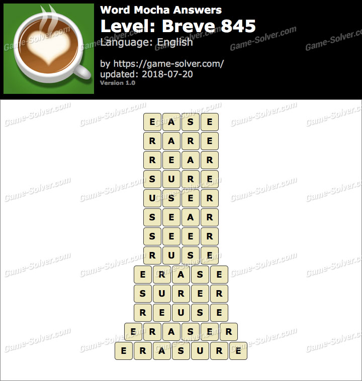 Word Mocha Breve 845 Answers