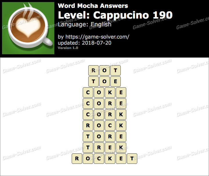 Word Mocha Cappucino 190 Answers