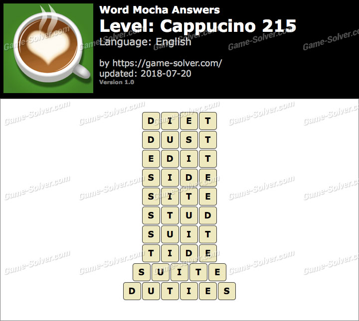 Word Mocha Cappucino 215 Answers