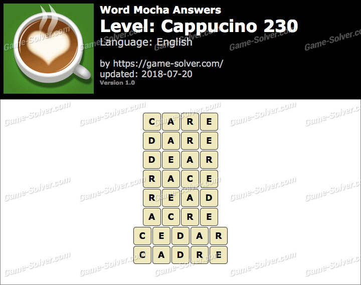 Word Mocha Cappucino 230 Answers