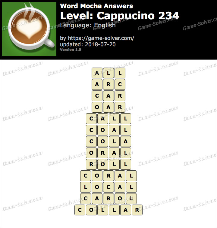 Word Mocha Cappucino 234 Answers