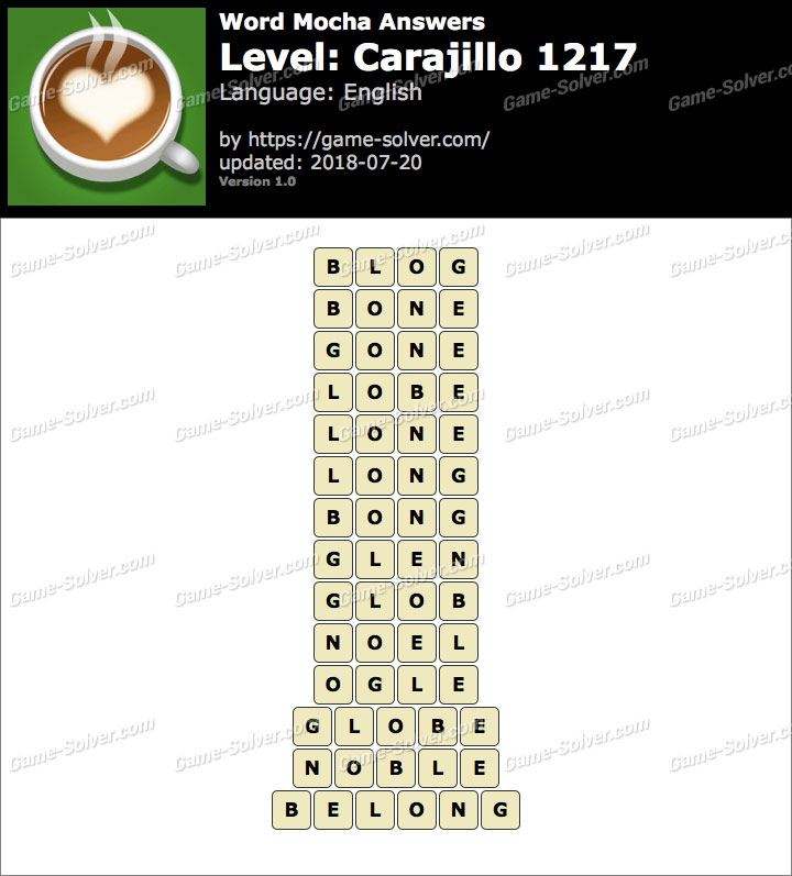 Word Mocha Carajillo 1217 Answers