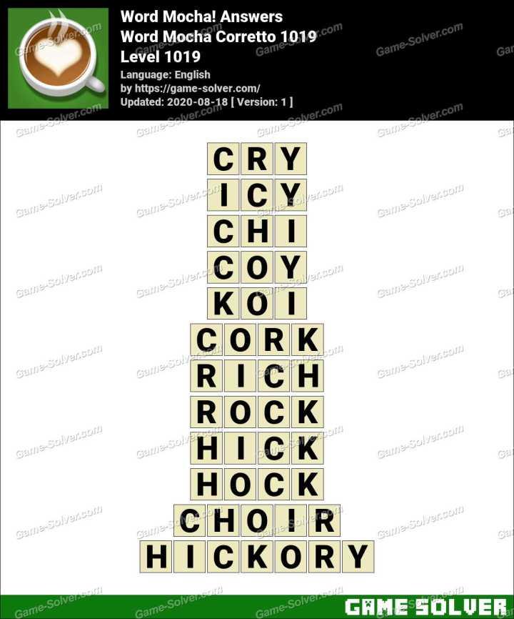 Word Mocha Corretto 1019 Answers