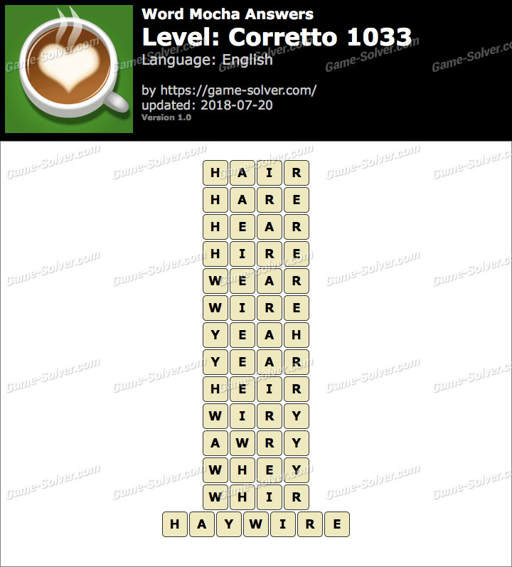 Word Mocha Corretto 1033 Answers