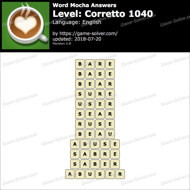 Word Mocha Corretto 1040 Answers