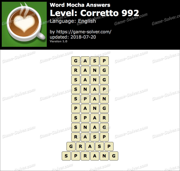 Word Mocha Corretto 992 Answers