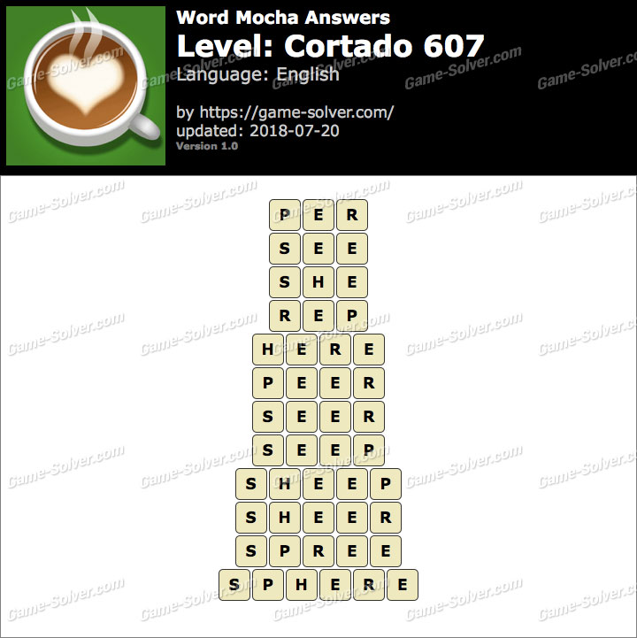 Word Mocha Cortado 607 Answers