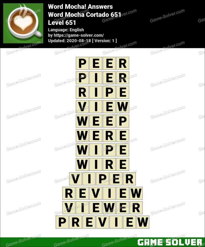 Word Mocha Cortado 651 Answers