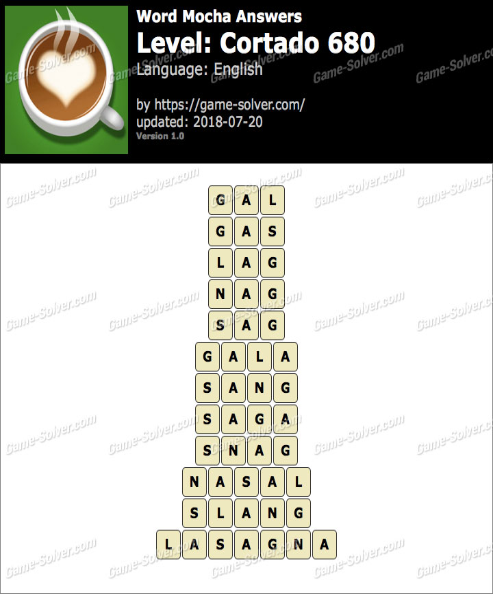 Word Mocha Cortado 680 Answers