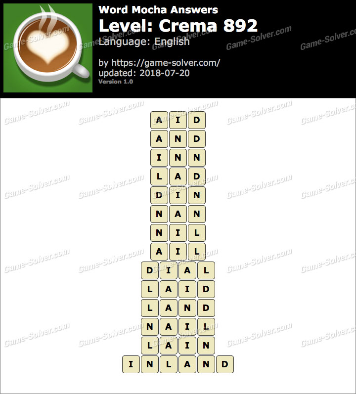 Word Mocha Crema 892 Answers