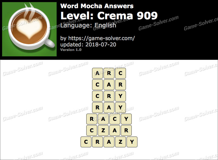 Word Mocha Crema 909 Answers
