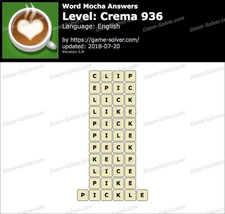 Word Mocha Crema 936 Answers
