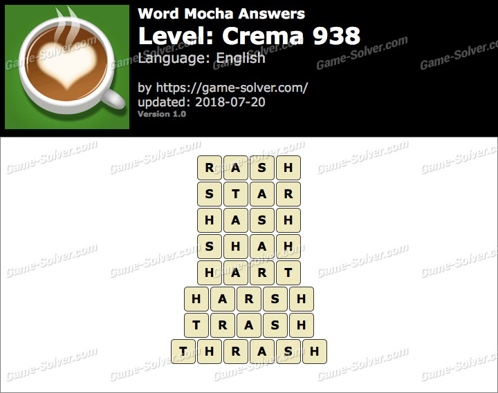 Word Mocha Crema 938 Answers