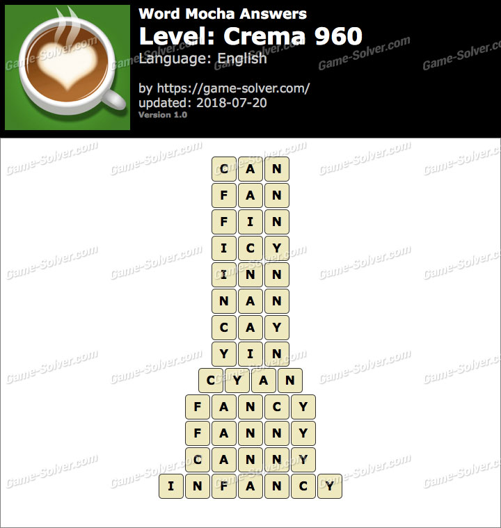 Word Mocha Crema 960 Answers
