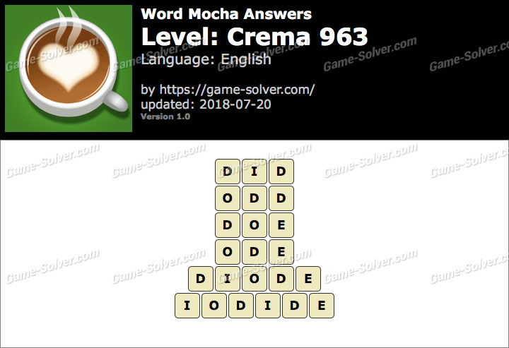 Word Mocha Crema 963 Answers
