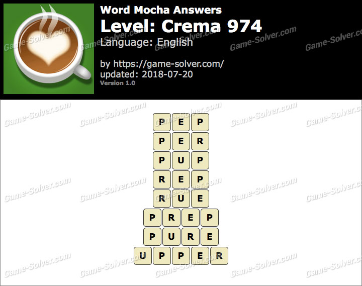 Word Mocha Crema 974 Answers