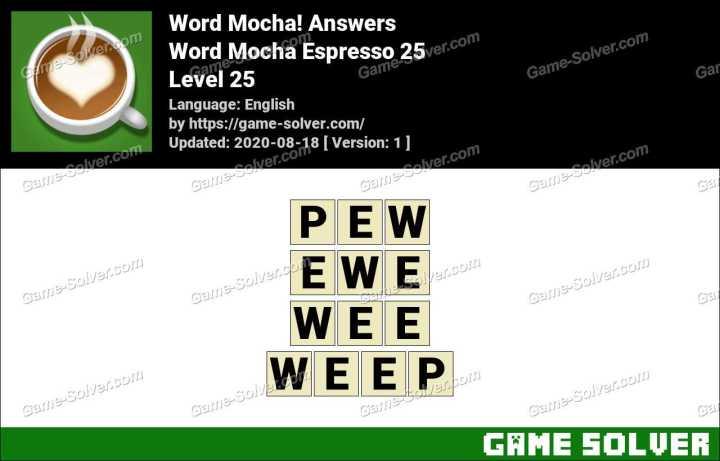 Word Mocha Espresso 25 Answers
