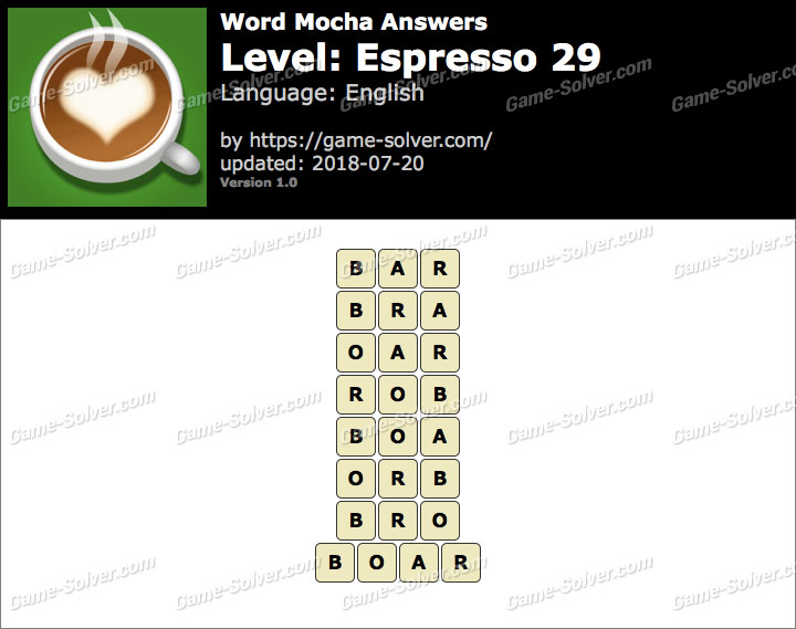 Word Mocha Espresso 29 Answers