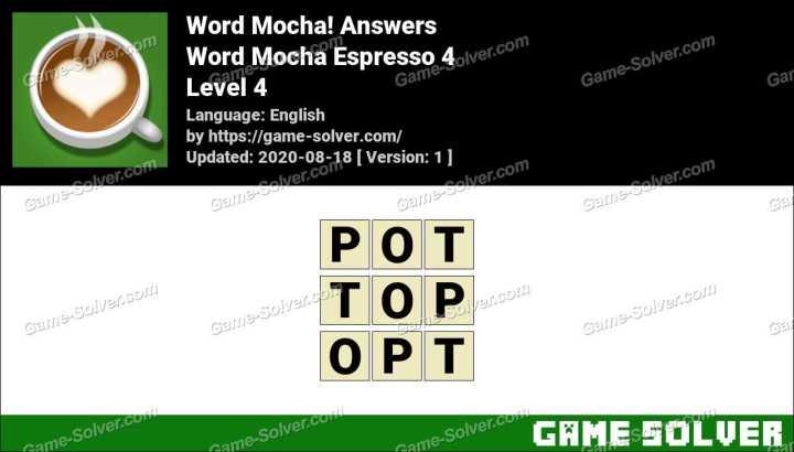 Word Mocha Espresso 4 Answers
