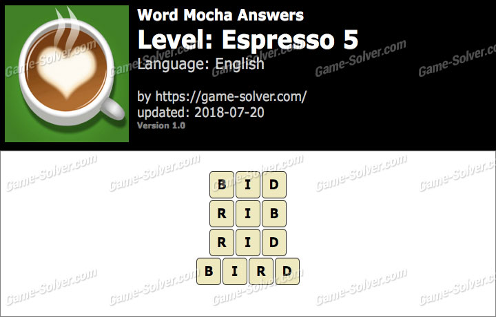 Word Mocha Espresso 5 Answers