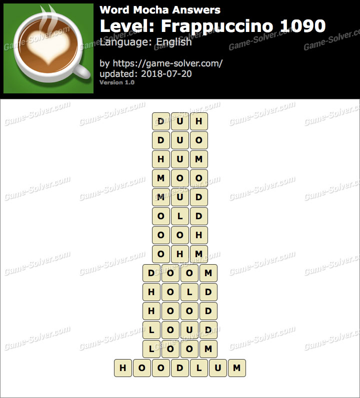Word Mocha Frappuccino 1090 Answers