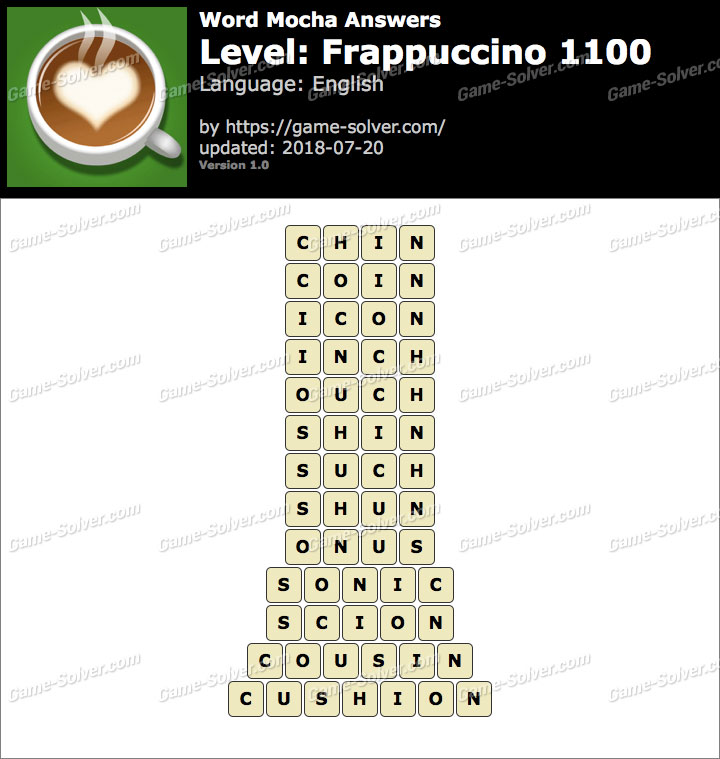 Word Mocha Frappuccino 1100 Answers