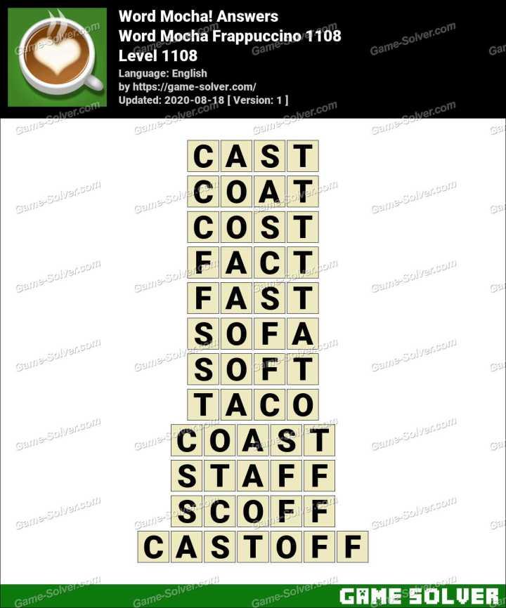 Word Mocha Frappuccino 1108 Answers