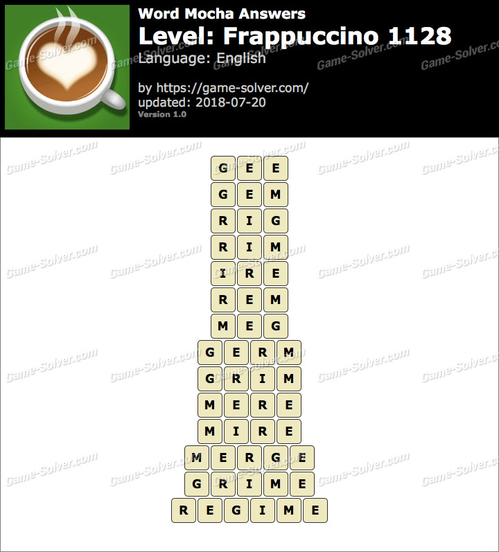 Word Mocha Frappuccino 1128 Answers