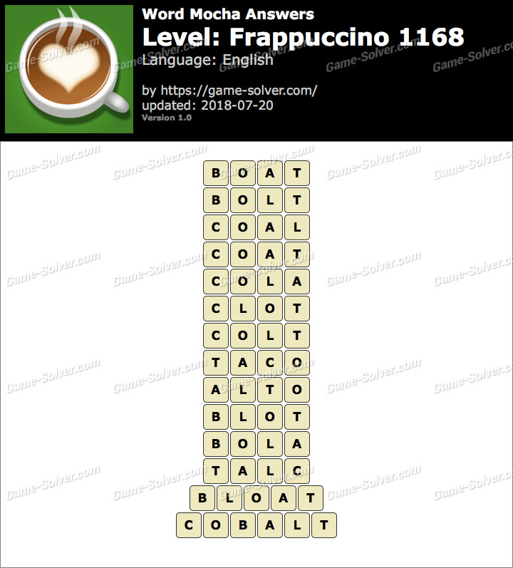 Word Mocha Frappuccino 1168 Answers
