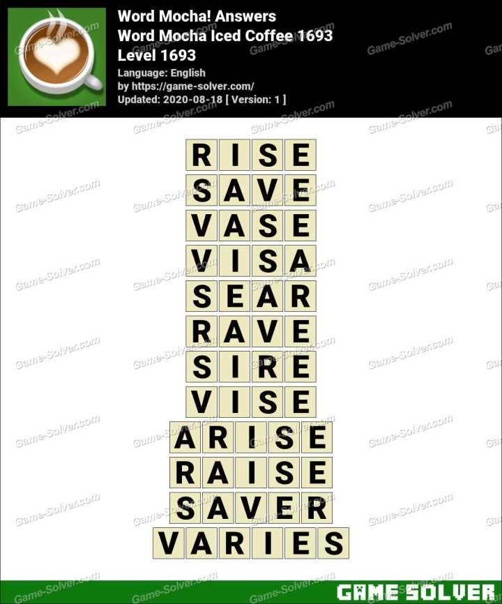 Word Mocha Iced Coffee 1693 Answers