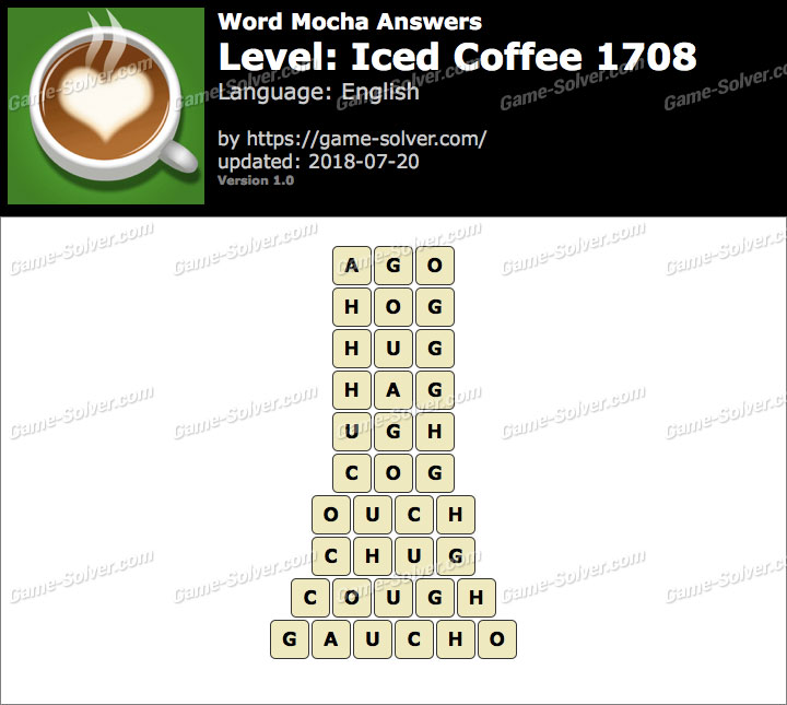 Word Mocha Iced Coffee 1708 Answers